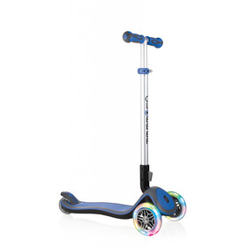 Globber Elite Deluxe Scooter with battery-free LED wheels Kids, navy blue